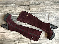 Сапоги  №424-5 марсала замша, фото 1