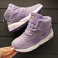 Зимние женские кроссовки Puma Trinomic высокие фиолетовые