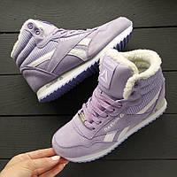 Зимние женские кроссовки Reebok высокие фиолетовые