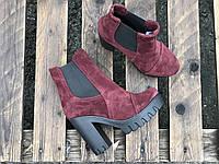 Ботинки из натуральной бордовой замши  №314-7, фото 1