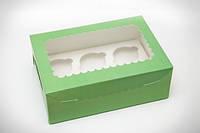 Коробка для капкейков мятная с окошком, на 6 кексов. мелованный картон