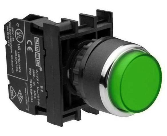 Кнопка нажимная круглая выступающая D22 (мм) (1НЗ) B200HY зелёная