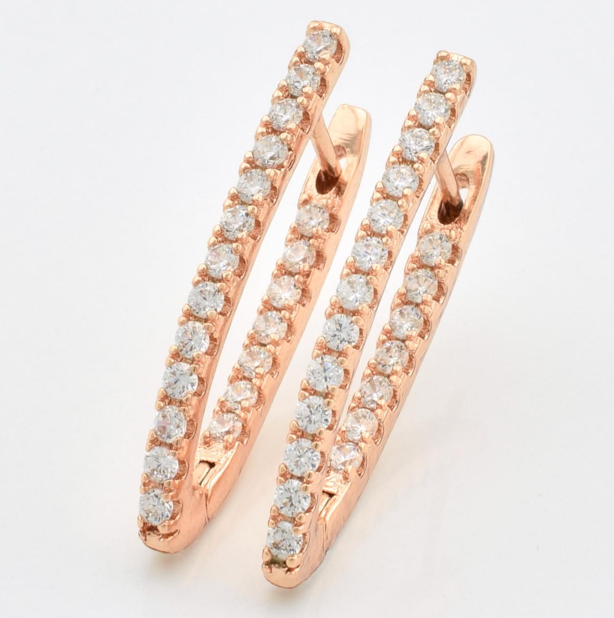 """Серьги """"Алмазные стрелки"""" большие, код 55683 размер 29*2 мм, белые фианиты, позолота РО"""