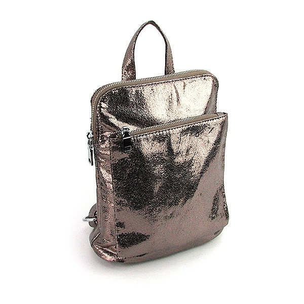 Рюкзак - сумка малая кожзам молодежная темное серебро 88118-11