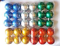 """Елочная игрушка """"Шар глянцевый однотонный"""" (диаметр 8 см, упаковка 6 шт, цвета в ассортименте)"""