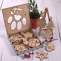 Подарочный набор ёлочных игрушек в серебрянном деревянном боксе с символикой Нового года 2018, большой., фото 1