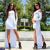 Стильное белое короткое платье со удлиненной спинкой в пол. Арт-11232
