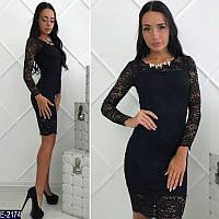 Стильное черное гепюровое платье с пришивным украшением. Арт-11233