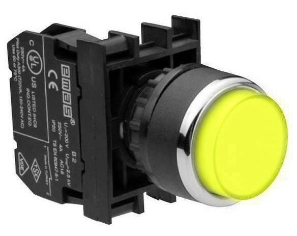 Кнопка нажимная круглая выступающая D22 (мм) (1НЗ) B200HS жёлтая