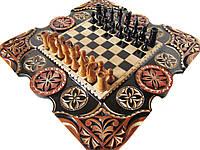 Шахматы-нарды эксклюзивные с трёхцветной резьбой