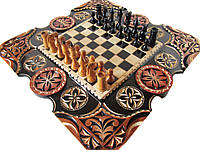 Шахматы-нарды эксклюзивные с трёхцветной резьбой, фото 1