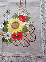 Скатерть  искуственный лен с вышивкой полсолнухи 180х140