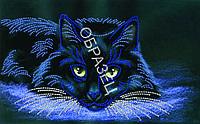 Схема для контурной вышивки бисером «Черный кот»