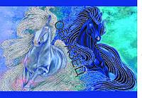 Схема для контурной вышивки бисером «Лошадки»