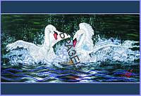 Схема для контурной вышивки бисером «Лебеди»