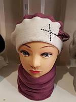Набор - женский бирет+шарф - ангора