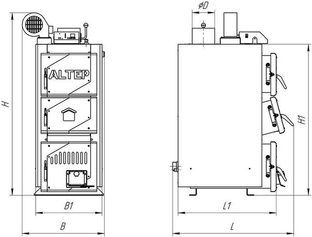 Габаритні розміри котла Classic / Classic Plus 12-20 кВт.