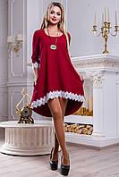 Красивое нарядное платье туника ассиметричной длинны с кружевом 42-48 размера