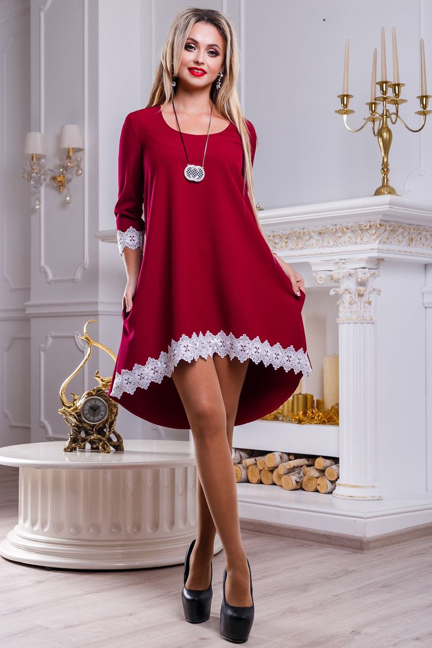 1bea09ef9f9 Красивое нарядное платье туника ассиметричной длинны с кружевом 42-48  размера
