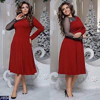 Нарядное женское платье креп дайвинг + итальянская сетка с блеском размеры: 48-50, 52-54, 56-58