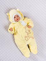 """Велюровый комбинезон для новорожденных на махре """"Вышивка Мишка"""" желтого цвета"""