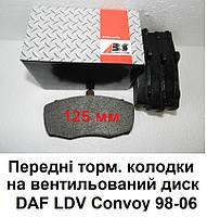 Тормозные колодки (предние) для DAF LDV Convoy (89-06), на вентилируемые диски