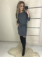 Женское платье с ангоры cофт  зима-осень Kira  , серое !, фото 1