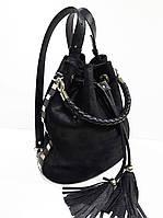 Сумка-рюкзак чёрный кожа