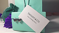 Сережки сердечки Тиффани, гвоздики, позолота