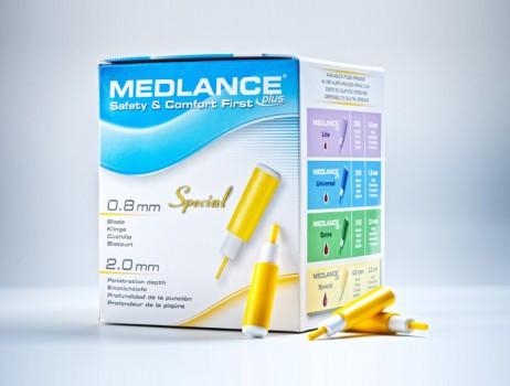 Ланцет автоматический медицинский Медланс плюс (MEDLANCE plus), желтый, специальный (special), 20шт, Польша
