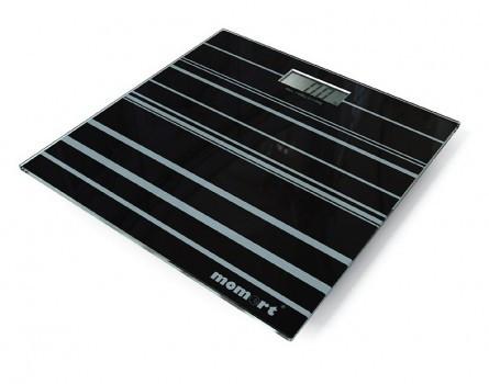 Ваги підлогові електронні на скляній платформі «Смуги» Момерт (Momert 5848-1), до 180 кг, Угорщина