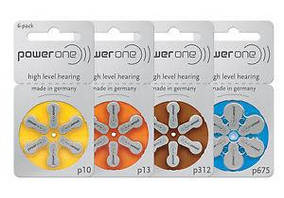 "Батарейки для слуховых аппаратов ""Power One"", 6 шт. в блистере"