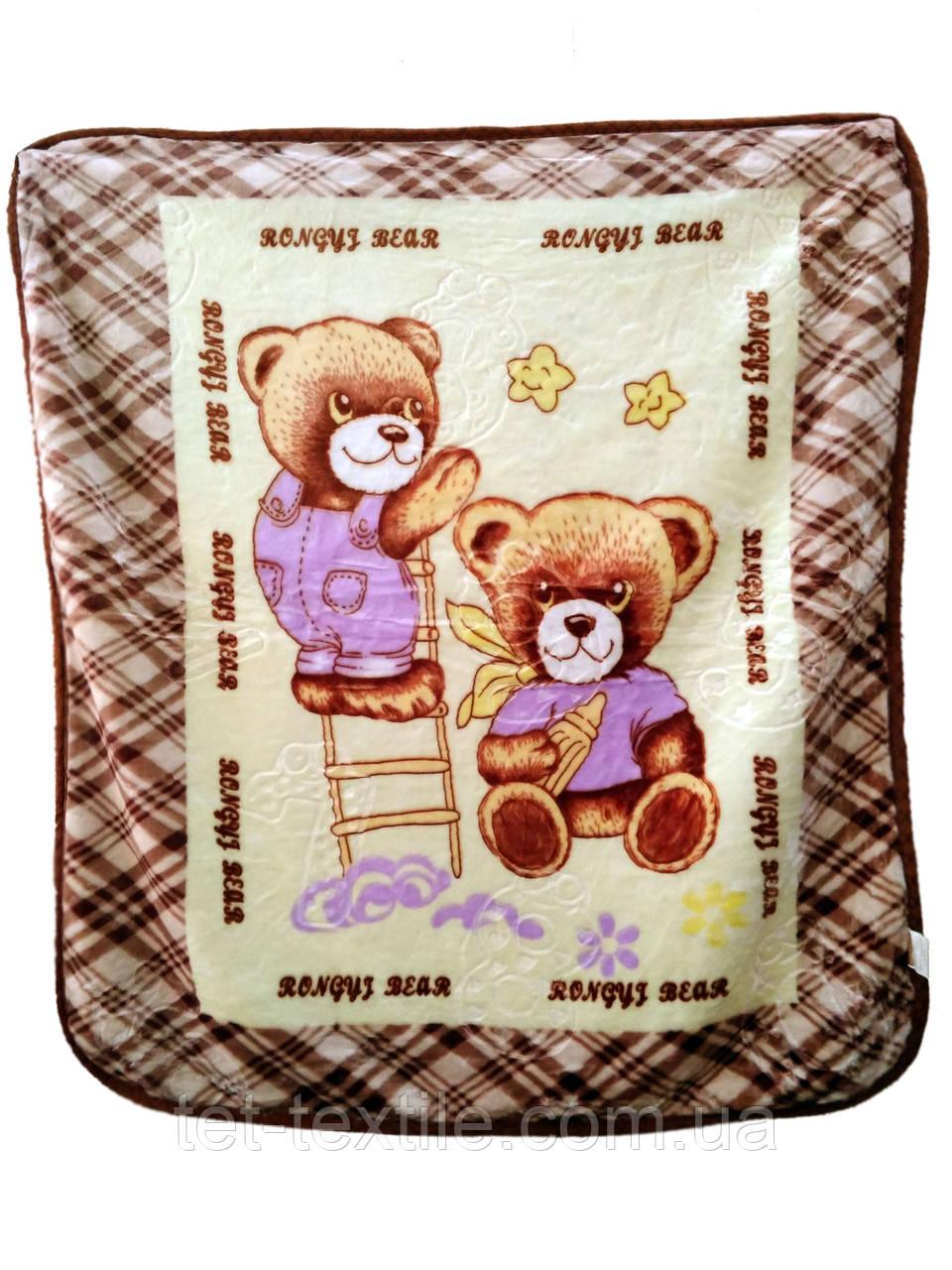 """Плед детский акриловый """"Медвежата и звездочки"""" бежевый (100х100)"""