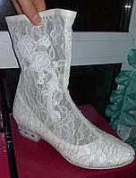 Свадебные сапожки-туфельки (1) -каблук 3 см (Размер 35, 36, 37, 38)