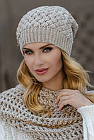 Зимняя шерстяная шапка с шикарной брошью со стразами Kinga Польша