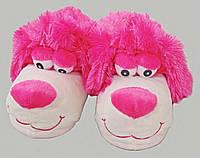 Женские теплые тапочки игрушки - собачка розовая