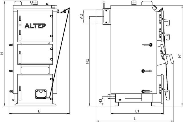 Габаритні розміри котла DUO / DUO PLUS (KT-2E) 17/ 250 кВт.