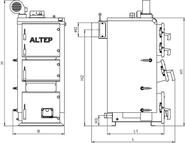 Габаритні розміри Альтеп DUO PLUS(КТ-2Е) 17-38 кВт
