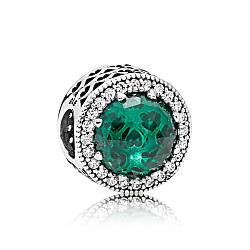 Серебряный шарм «Зеленое сияющее сердце»