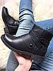 Женские демисезонные ботинки на замке черного цвета