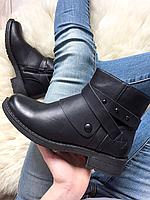 Женские демисезонные ботинки на замке черного цвета кожа