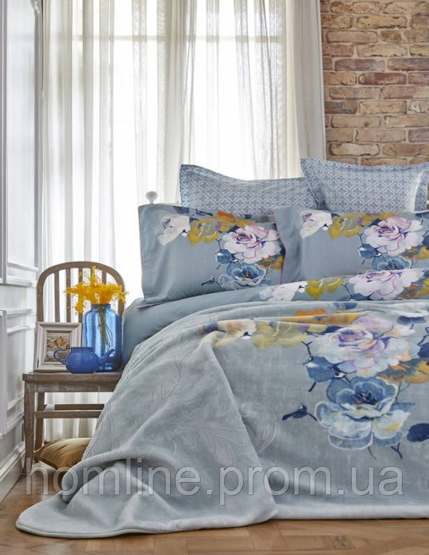 Набор постельное белье с пледом Karaca Home Lenusy зеленый евро размера
