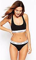 Набор женский Calvin Klein (топ+стринги), черный S,M,L