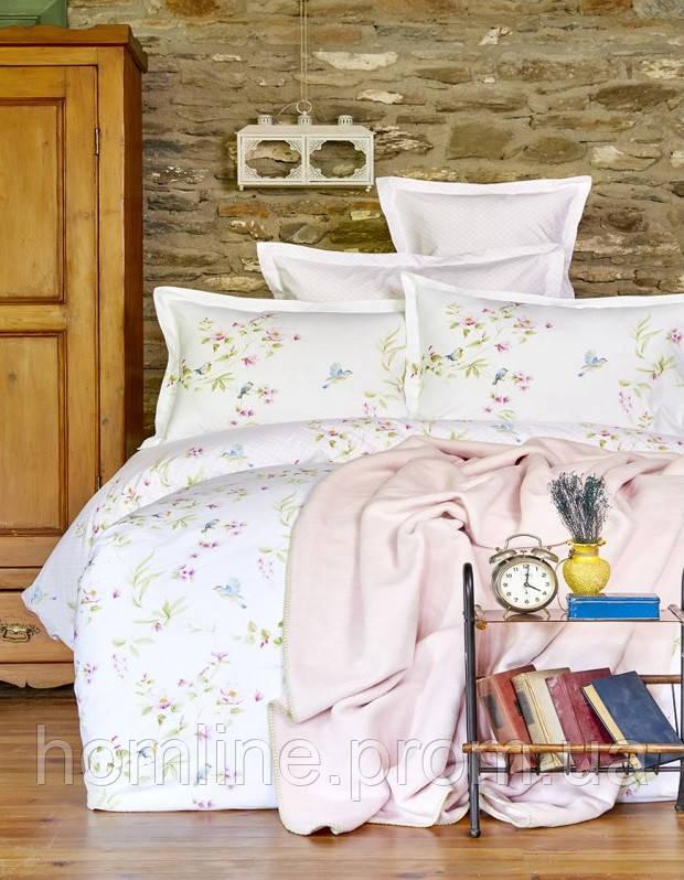 Набор постельное белье с пледом Karaca Home Laticia розовый евро размера