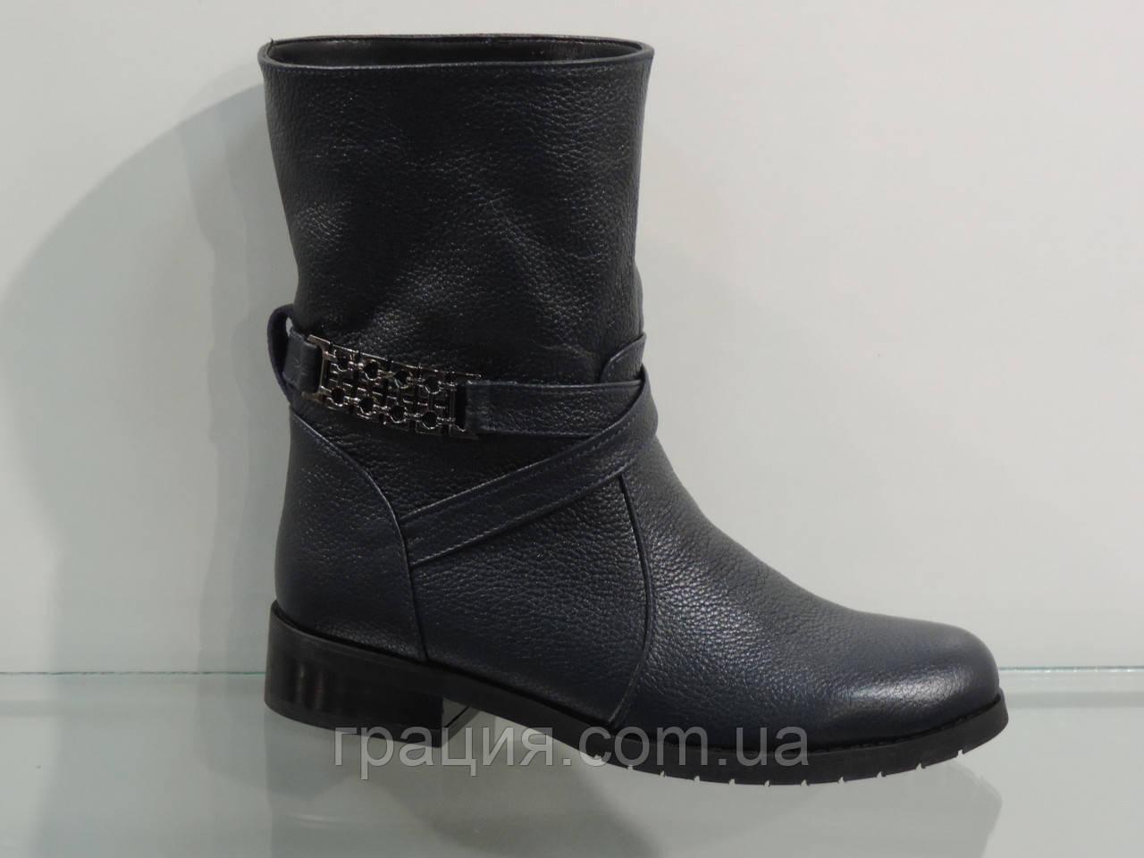 Ботинки молодежные темно-синие кожаные зимние без молнии