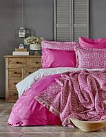Набор постельное белье с пледом Karaca Home Marla фуксия евро размера