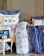 Набор постельное белье с покрывалом + плед Karaca Home Coastal голубой евро размера