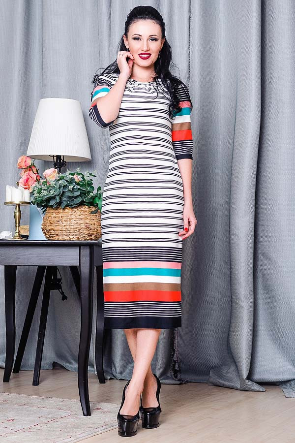 Платье в полоску - БОГЕМА - бежевое