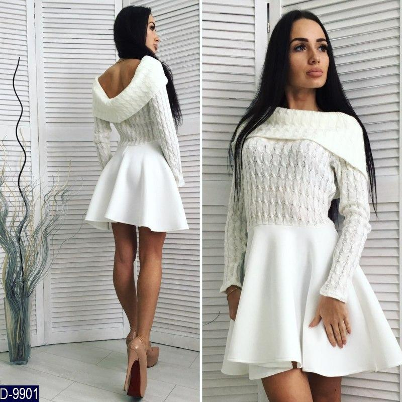 Стильное белое платье с вязаным верхом и неопреновой юбкой. Арт-11256 -  Интернет- b86c2555a40