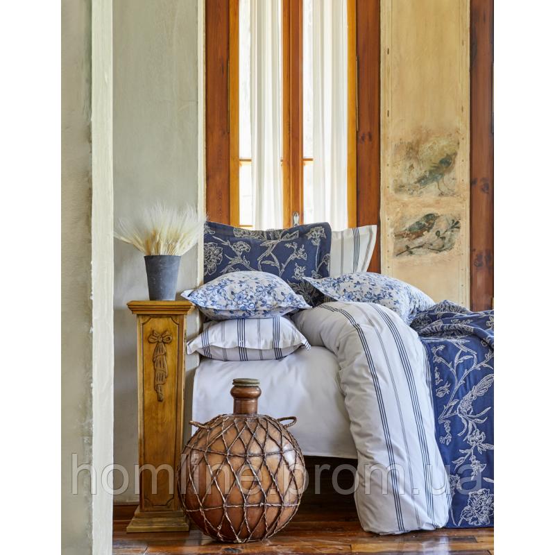 Набор постельное белье с покрывалом Karaca Home Pureline синий евро размера